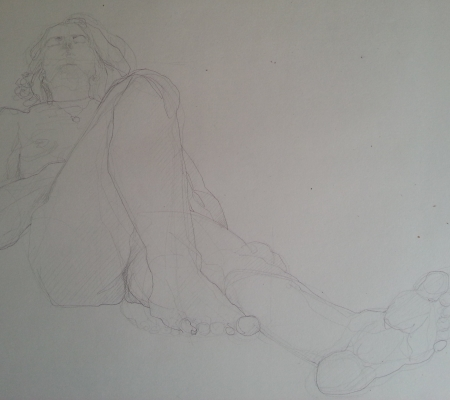 Life drawing, pencil on paper