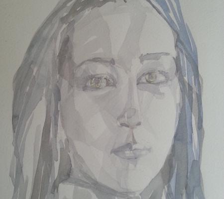 Self portrait,Watercolors